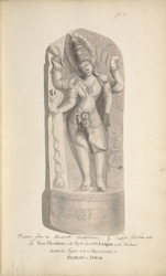 Drawn from an Ancient Sculpture by Capt. Caldwell. The Tree Shoolum in the right hand & the Lingam on the forehead denote this figure to be a representation of Seevan or Iswar